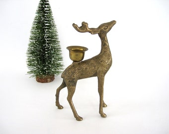Vintage Brass Deer Buck Candle Holder Figurine Candleholder Reindeer Christmas Decor Nature Gift
