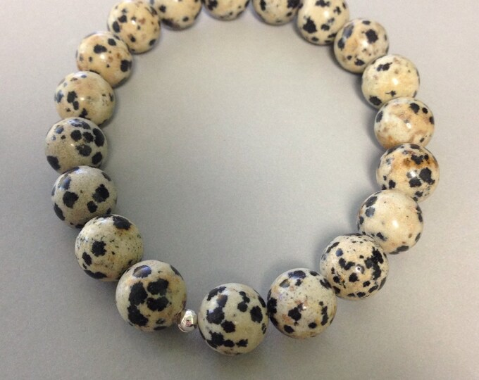 Dalmatian Jasper 10mm Round Bead Stretch Bracelet With Sterling Silver Accent