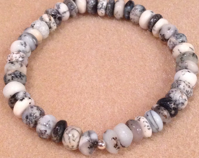 Merlinite Dendritic Opal Rondelle 7mm Bead Stretch (or clasp) Bracelet With Sterling Silver Accent