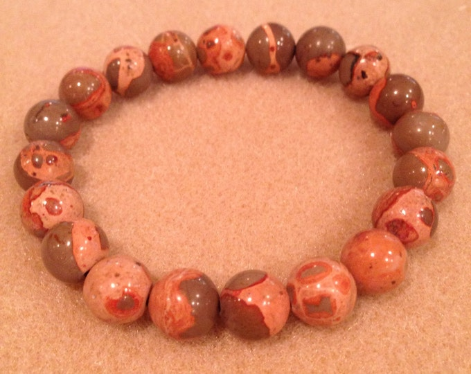 Safari Jasper 10mm Round Bead Stretch Bracelet for Relaxation Protection and Crystal Healing