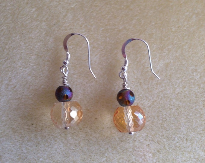 Micro Faceted Purple Amber Aurora Borealis Crystal Bead Sterling Silver Dangle Drop Earrings Rainbow Sparkle