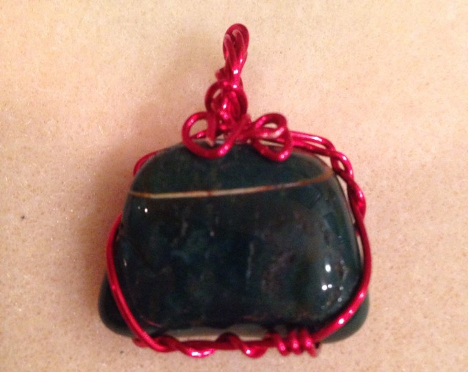 Bloodstone Pendant Wire Wrapped in bright Red Metallic Artisan Wire
