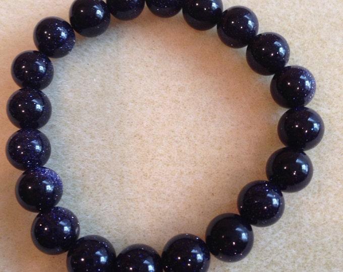 "Indigo Midnight Blue Goldstone ""Night Sky"" 10mm Round Stretch Bead Bracelet - Intuition Meditation Astral Travel"