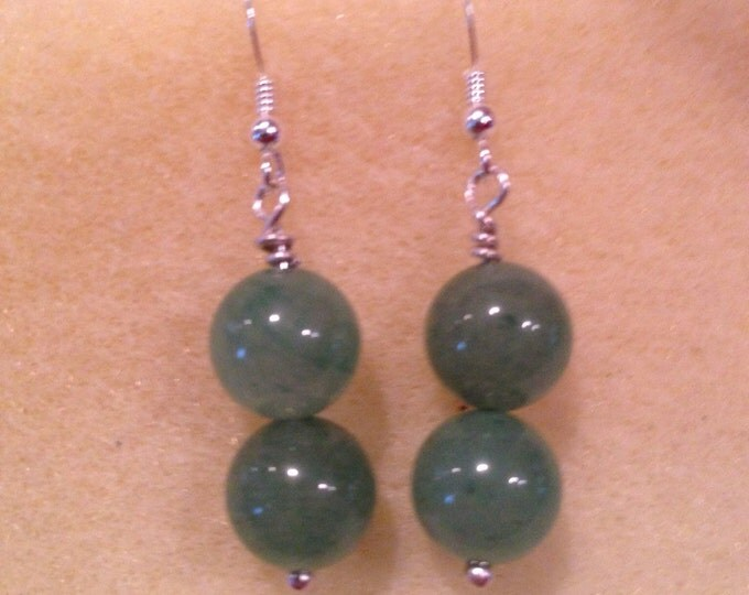 Green Aventurine Sterling Silver 10mm Round Bead Dangle Drop Earrings for Luck, Wealth, Adrenal Fatigue and Migraines