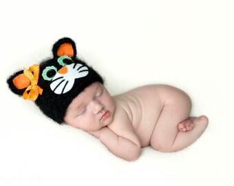 Black Cat Hat, Halloween Costume, Kitten, Baby Kitten, Newborn Photo Prop, Fall Hat, Holiday, Baby Girl, Baby Boy, Crochet Kitten Hat,