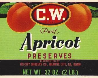 C.W. Brand Tri City Grocery Apricot Preserves Vintage Label, 1930s