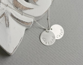 Personalized Mom Necklace, Sterling Silver Discs, Names Hand stamped Mothers Jewelry Family Name Discs Pendants Children Names Necklace