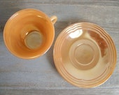 Fire King Cup and Saucer Peach Luster / Three Rings Peach Cup & Saucer / Mid Century Retro Kitchen / Fire King Collectible