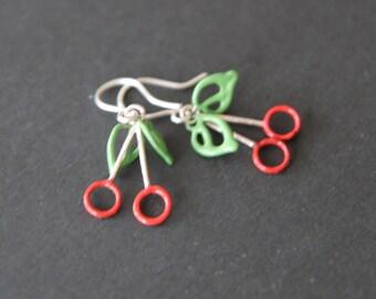 Sterling silver cherry earrings with enamel