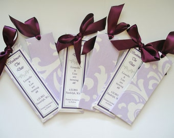 Lavender & White Save the Date Bookmarkers/Damask/Birthday/Wedding Favors - (Custom Colors Available)