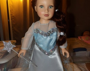 Beautiful Ice Princess dress from the movies for 18 inch Dolls - ag247b