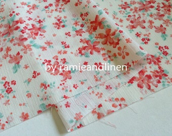 "Japanese cotton fabric, sakura floral print Crinkle cotton fabric, half yard by 44"" wide"