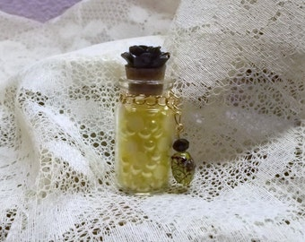 Flat Back Pearls 5mm, In a Bottle, Yellow witha black RESIN rose, Gift, Scrapbooking, Card Making, Charms, Card Making, Mixed Media,