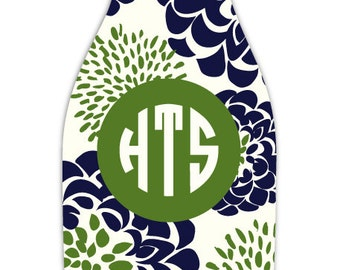 PEONY personalized monogram bottle beverage insulator - zippered back for longnecks - weddings, bachelorette, parties, beaches