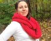 Cherry Red infinity cowl scarf neckwarmer