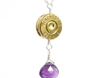 308 Bullet Necklace with Amethyst, February Birthstone, Custom Caliber Bullet Necklace, Bullet Casing and Genuine Amethyst, Made in USA