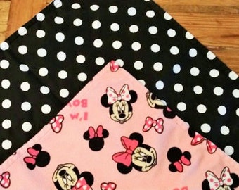 Ready to Ship. Minnie Mouse Minky Travel Blanket. Disney. Pink. Bows.