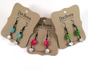 Skeleton Earrings with Dice Rockabilly Gothic Lolita