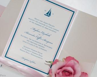 Sailboat Wedding Invitation, Pocketfold invitation, nautical invitation, beach invitation, custom invitation, cape cod invitation