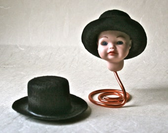 Black Felt Hats for Doll Making and Crafting
