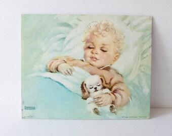 8 x 10 Vintage Litho Fine Print Sleeping Baby Infant Florence kroger Sweet Dreamer Nursery Decor Cottage Decor Ready to Frame