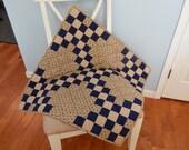 Beige Blue Double Irish Chain Square Crib Quilt