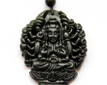 Thousand Hands Kwan-Yin God Dark Color Natural Stone Amulet Pendant Good Luck 42mm*35mm  TH003