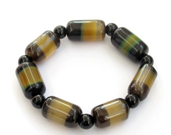 Exquisite Agate Cylinder Beads Stretch Bracelet  T3227