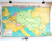 Two-Sided Colorful Antique Exploration & United States School Map