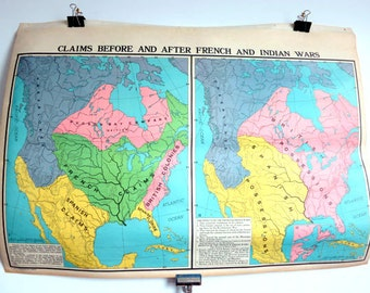 Antique two-sided School Map - War Claims & US Railroads