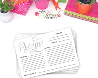 INSTANT DOWNLOAD Bridal Shower Recipe Card