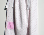 Pillowcase Dress 29 Inches Long - Pink Polka Dots on White Background With Reverse Border and Pocket - Handmade