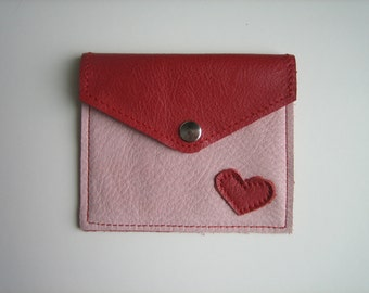 Red & Pink Leather Heart Pouch