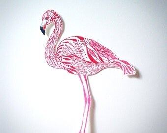 Flamingo bird sticker, // SALE 3 for 2 // 100% waterproof vinyl label.