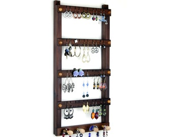 Wall Mount Earring Orgainzer - Jewelry Holder, Peruvian Walnut, Black, Wooden, Necklace Holder. Holds 40 pairs, 4 pegs, Jewelry Display