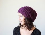 Purple Slouch hat women, Slouch knit hat for women, Purple Beanie Hat, Oversized hat, Purple knit hat women, Gift for her