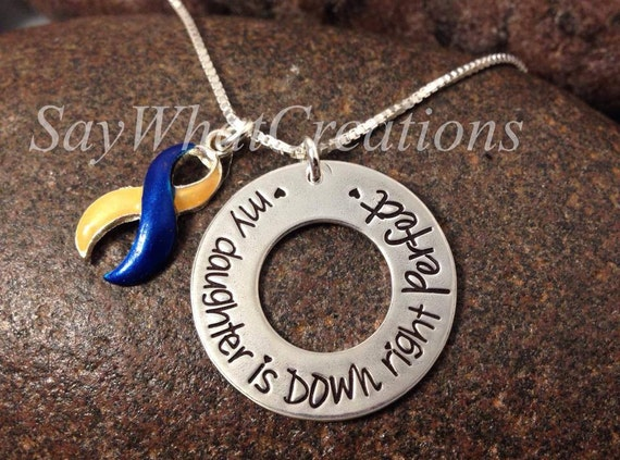 Down Syndrome Awareness Necklace Sterling Silver Hand Stamped DOWN RIGHT PERFECT