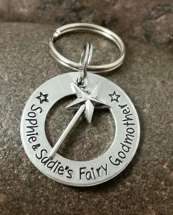 Fairy Godmother Key Chain with Wand Personalized with up to 3 names for your child's Godmother Gift