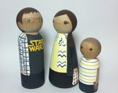 Custom Peg Doll Family of 3 * Hand Painted Dolls * Family Portrait