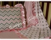 Baby girl bedding pink gray throw pillow blanket