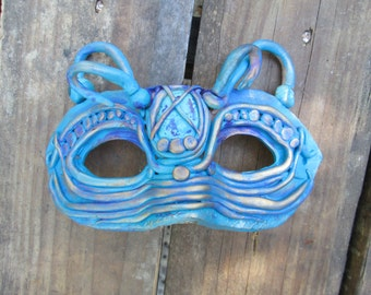 mask, hand painted, custom made to order.], one of a kind, warrior, masquerade mask, half face, sci-fi, science fiction