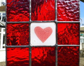 Stained Glass Valentine Heart Ruby Red and Pink Light Catcher