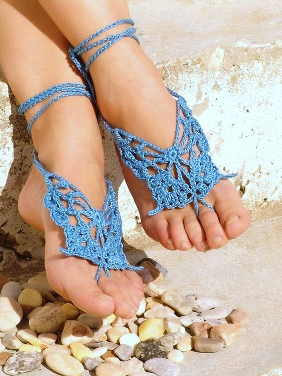 Barefoot sandals, Butterfly Barefoot Sandles, Crochet Blue Leg accessory, Nude shoes, Foot jewelry, Lolita, Bride, Sexy, Wedding Beach Party
