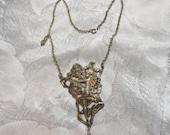 Reserve 4 JADE - Large Vintage Art Nouveau Flower Fairy Necklace