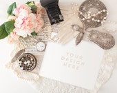 Vintage Pearls and Mirror, Stock Desk Art Print, Product / Frame Mockup Frame Mock Up for Bloggers Promo or Product, Styled Desk Photography