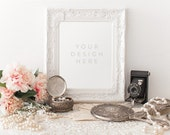 Vintage Pearls and Mirror, Camera Jewelry, Product / Frame Mockup Frame Mock Up for Bloggers Promo or Product, Styled Desk Stock Photography