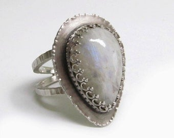 Sterling Silver Rainbow Moonstone Ring, Big Chunky Ring, Handmade Artisan Jewelry, Size 7.5