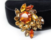 Topaz Rhinestone Pinwheel Brooch - Fall Colors
