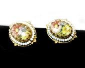 Lovely Miriam Haskell Earrings - Adjustable Screwbacks, Floral Design