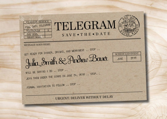 VINTAGE TELEGRAM Save The Date Wedding Invitation Printable